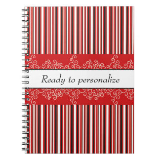 Red Stripes and Curls Notebooks