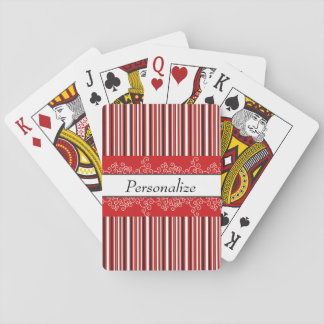 Red Stripes and Curls Playing Cards