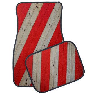 Red Stripes and Wood Design Set of 4 Car Mats Auto Mat