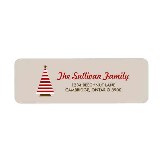 Red Stripes Christmas Tree Holiday Address Label