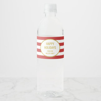 Red Stripes Gold Custom Happy Holidays Water Bottle Label
