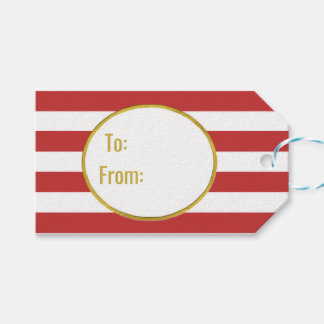 Red Stripes Gold Merry Christmas Gift Tags