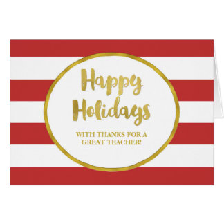 Red Stripes Gold Teacher Christmas Card
