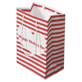 Red Stripes &  Heart | Mother's Day Gift Bag