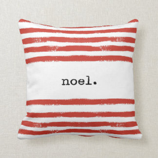 red stripes-noel throw pillow