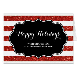 Red Stripes Teacher Christmas Card