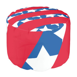 Red Stripes with Blue American Flag Pouf