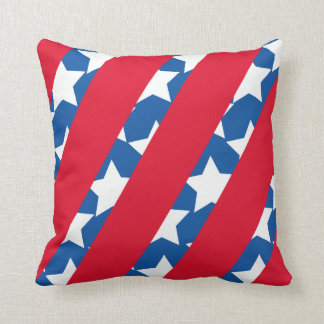Red Stripes with Blue American Flag Throw Pillow