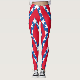 Red Stripes with Blue Stars American Flag Leggings