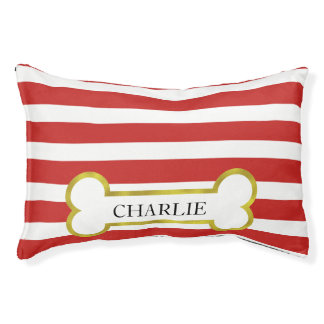Red Stripes with Gold Bone Personalized Dog Bed