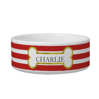 Red Stripes with Gold Bone Personalized Pet Bowl