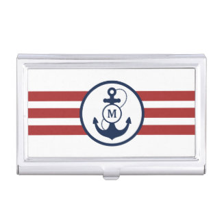 Red Stripes with Nautical Anchor and Monogram Business Card Holder