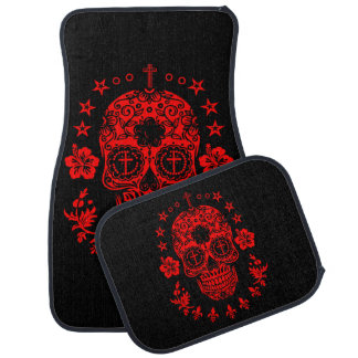 Red Sugar Skull and Cross with Fleur De Lis Car Mat