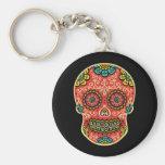 Red Sugar Skull Basic Round Button Keychain
