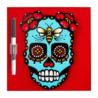 Red Sugar Skull Dry-Erase Whiteboard