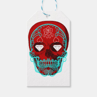 Red Sugar Skull Gift Tags