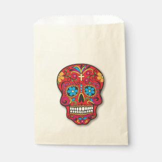 Red Sugar Skull Halloween Treat Party Orange Favour Bag