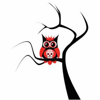 Red Sugar Skull Owl in Tree Photo Sculpture