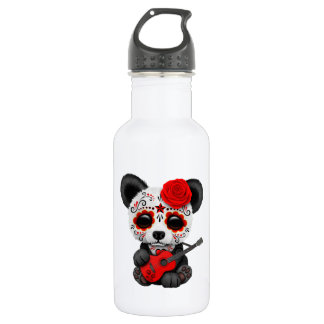 Red Sugar Skull Panda Playing Guitar 532 Ml Water Bottle