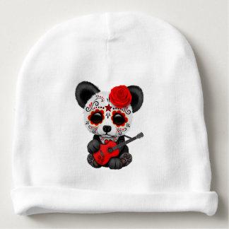 Red Sugar Skull Panda Playing Guitar Baby Beanie