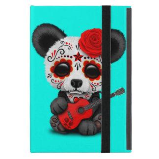 Red Sugar Skull Panda Playing Guitar Case For iPad Mini