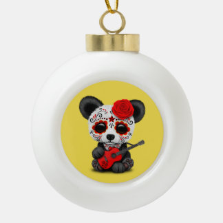 Red Sugar Skull Panda Playing Guitar Ceramic Ball Christmas Ornament