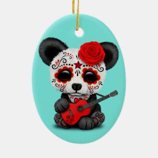 Red Sugar Skull Panda Playing Guitar Ceramic Ornament