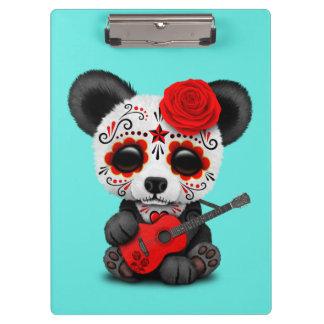 Red Sugar Skull Panda Playing Guitar Clipboard