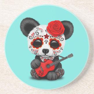 Red Sugar Skull Panda Playing Guitar Coaster