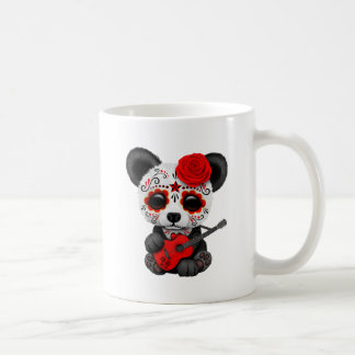 Red Sugar Skull Panda Playing Guitar Coffee Mug