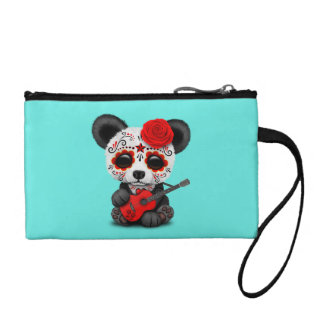 Red Sugar Skull Panda Playing Guitar Coin Purse