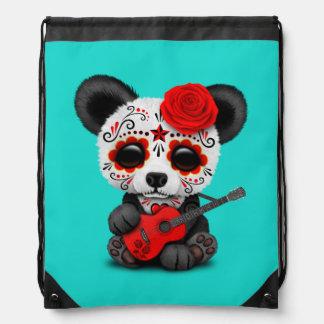 Red Sugar Skull Panda Playing Guitar Drawstring Bag