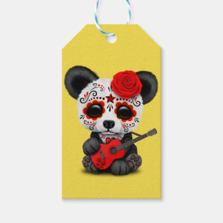 Red Sugar Skull Panda Playing Guitar Gift Tags