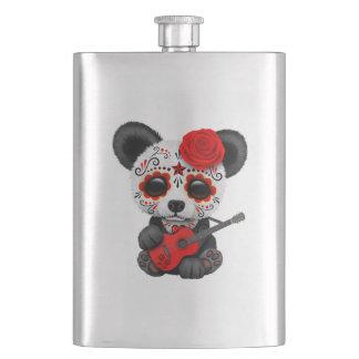Red Sugar Skull Panda Playing Guitar Hip Flask