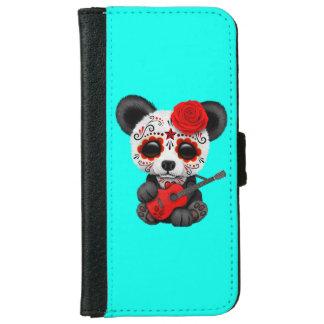 Red Sugar Skull Panda Playing Guitar iPhone 6 Wallet Case