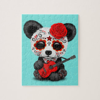 Red Sugar Skull Panda Playing Guitar Jigsaw Puzzle