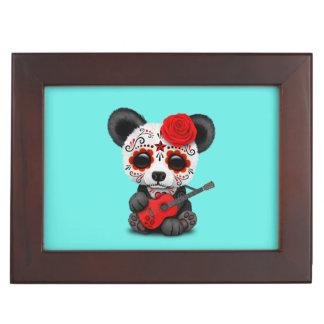 Red Sugar Skull Panda Playing Guitar Keepsake Box