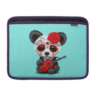 Red Sugar Skull Panda Playing Guitar MacBook Sleeve