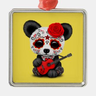 Red Sugar Skull Panda Playing Guitar Metal Ornament