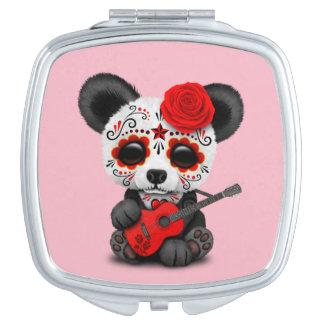 Red Sugar Skull Panda Playing Guitar Mirror For Makeup