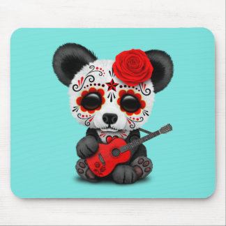 Red Sugar Skull Panda Playing Guitar Mouse Pad