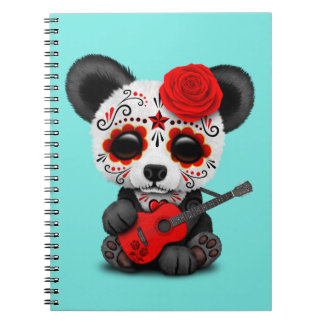 Red Sugar Skull Panda Playing Guitar Notebook