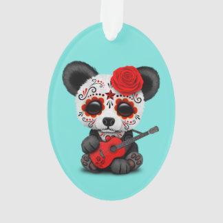 Red Sugar Skull Panda Playing Guitar Ornament
