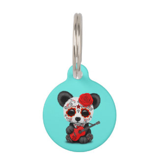 Red Sugar Skull Panda Playing Guitar Pet ID Tag