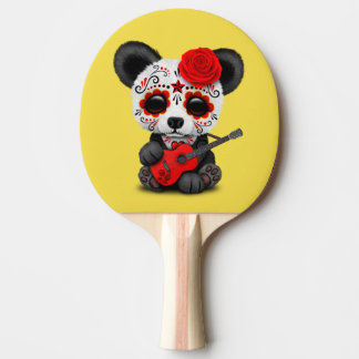 Red Sugar Skull Panda Playing Guitar Ping Pong Paddle