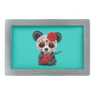 Red Sugar Skull Panda Playing Guitar Rectangular Belt Buckle