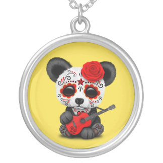 Red Sugar Skull Panda Playing Guitar Silver Plated Necklace