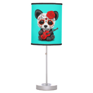 Red Sugar Skull Panda Playing Guitar Table Lamp