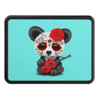 Red Sugar Skull Panda Playing Guitar Trailer Hitch Cover