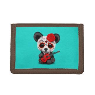 Red Sugar Skull Panda Playing Guitar Tri-fold Wallet